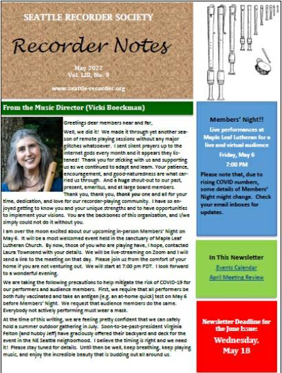 Recorder Notes Newsletter - click to view